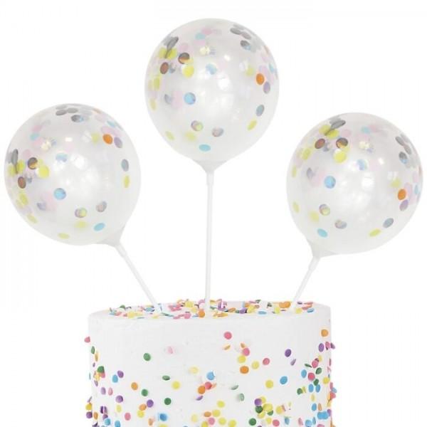 5 Pastell Regenbogen Tortenballons 13cm