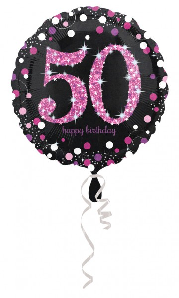 Pink 50th Birthday foil balloon 43cm