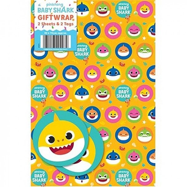 Baby Shark wrapping paper 2 sheets 2 tags