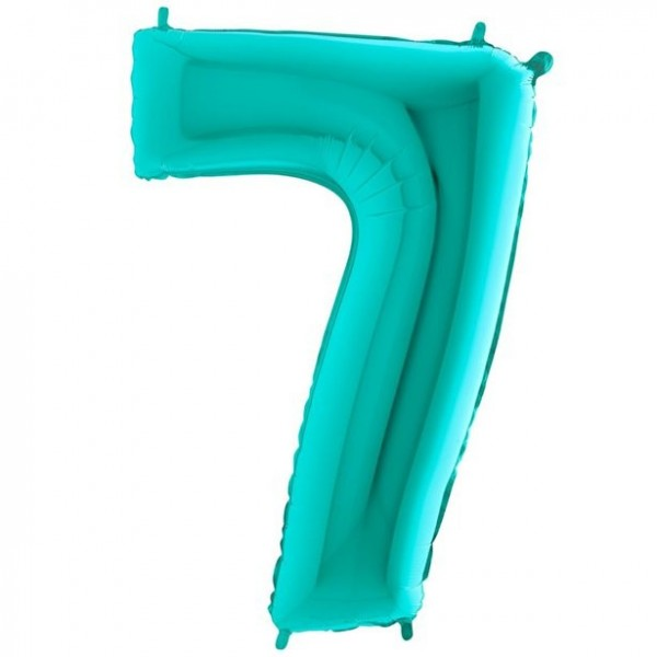 Number 7 giant foil balloon mint 101cm