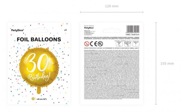 Glossy 30th Birthday Folienballon 45cm