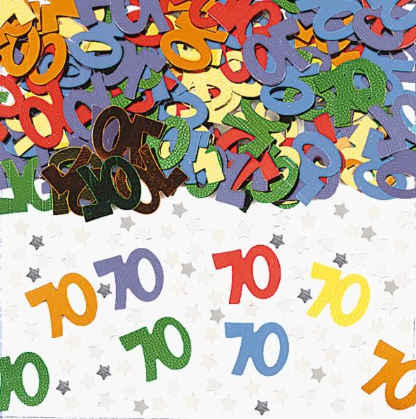 70. Geburtstag Rainbow Party Streudeko Bunt Metallic