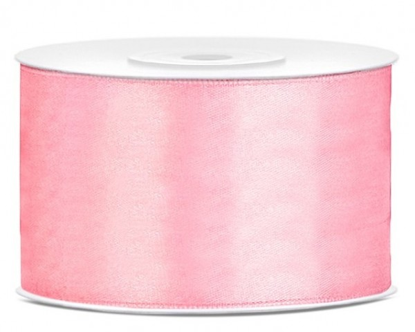 Cinta de raso de 25 m, rosa claro, 38 mm de ancho