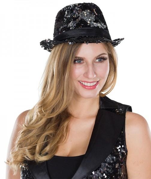 Schwarzer Fedora Hut mit Wendepailletten