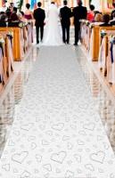 Herzläufer weißer Teppich 4,5m x 60cm