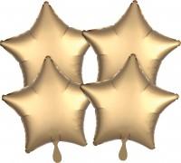 4 Goldene Satin Sternballons