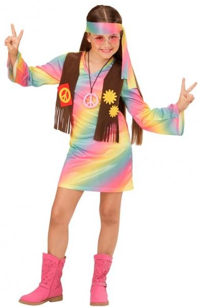 Regenbogen Hippie Mädchenkostüm