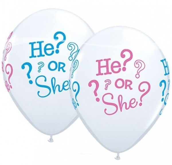 25 Ballons Babyparty He Or She 27cm