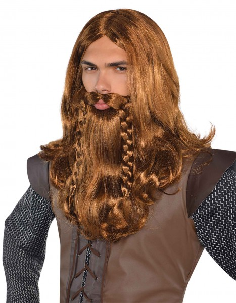 Viking men's wig with beard