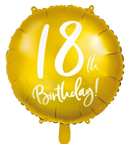 Golden 18th Birthday foil balloon 45cm