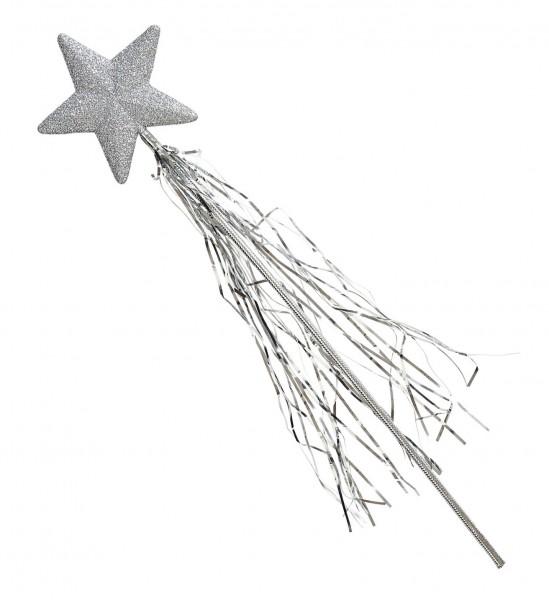 Varita mágica de estrellas plateadas