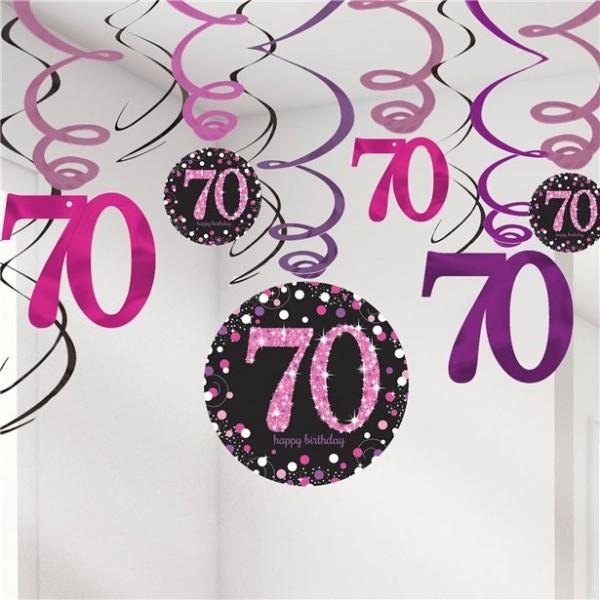 12 Pink 70th Birthday Spiralhänger 61cm