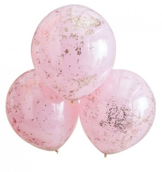 3 Golden Pink Konfettiballons 45cm