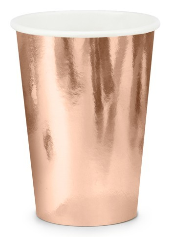 6 metalicznych kubków papierowych 220ml w kolorze różowego złota