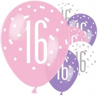 6 Pink Dots 16th Birthday Luftballons 30cm