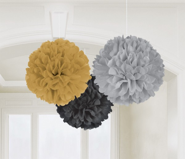 3 pompons style Hollywood 40cm