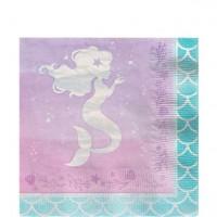 16 Schimmernde Meerjungfrau Papierservietten 33cm