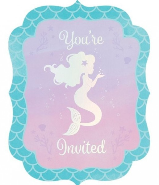 8 cartes d'invitation Mermaid Treausres