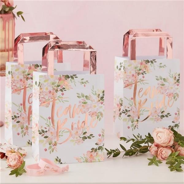 5 bolsas de papel Floral Team Bride 35cm