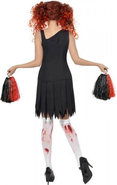Halloween Kostüm Untoter Zombie Cheerleader Schwarz Rot