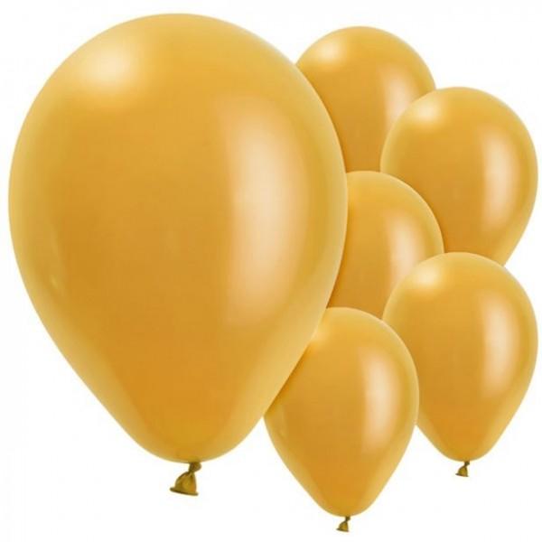 10 Festliche Latexballons gold perlmutt 28cm