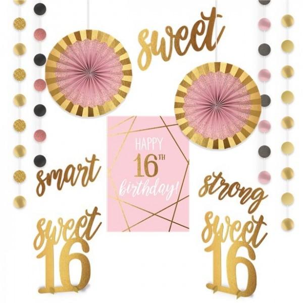 16. Geburtstag Partydeko-Set rosé-gold 12-teilig