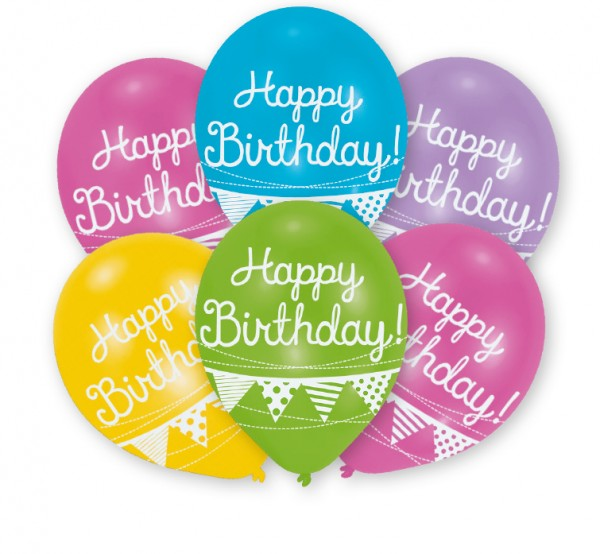 Happy Birthday balloon with garland 27.5cm set of 6
