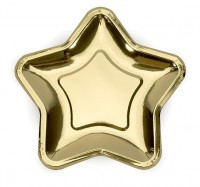 6 Goldene metallic Stern Pappteller 18cm