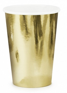 6 Metallic Pappbecher gold 220ml