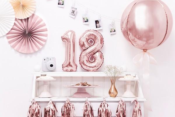 Bola fiesta globo sobre oro rosa 40cm