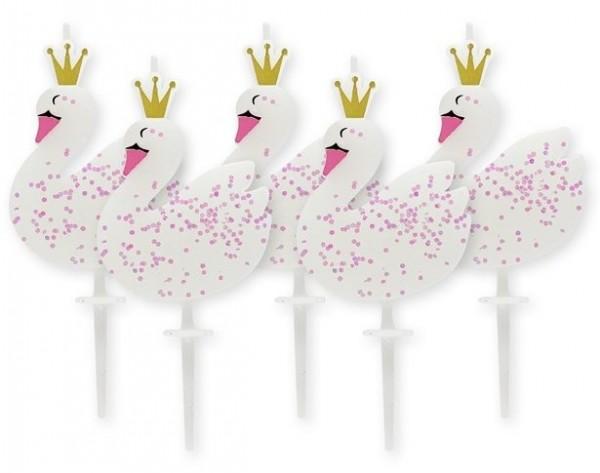 5 velas de pastel de sueño cisne 6.7cm