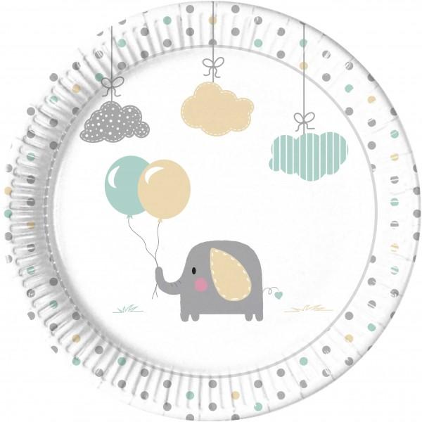 8 platos de papel elefante bebé 23cm