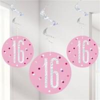 6 Pink Dots 16th Birthday Spiralhänger 80cm
