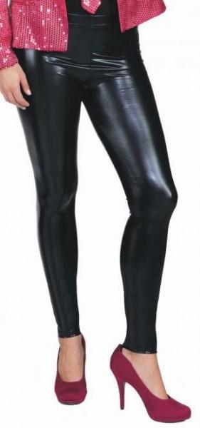 Nauw aansluitende glanzende zwarte damesleggings