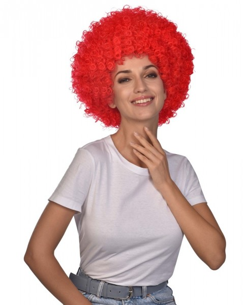 Perruque afro carnaval rouge