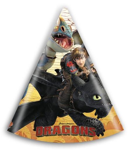 6 Dragons Partyhüte 16cm