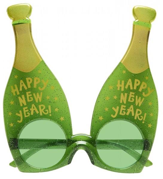 Silvester Sekt Party Brille Grün