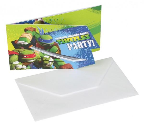 Ninja Turtles Einladungskarte Partytime 6 Stück