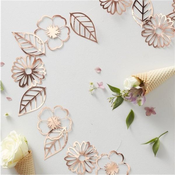 Guirnalda de flores en oro rosa 3m