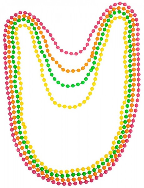 Colliers de perles colorées, lot de 4