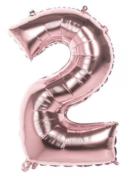 Rose gold number 2 foil balloon 86cm
