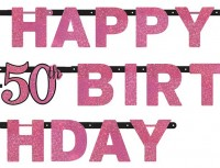 Pink Funkelnde Happy 50th Birthday Girlande Time To Shine