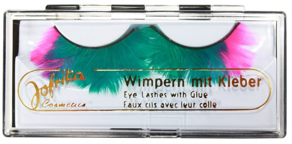 Grün-Pinke Fagiano Feder Wimpern