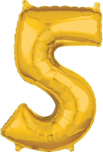 Globo foil números 5 dorado 66cm