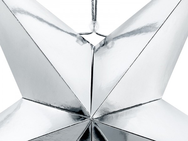 Reflective paper star in silver 70cm