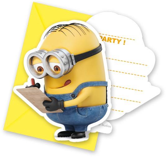 Lot de 6 cartes d'invitation mignonnes Minions avec enveloppes