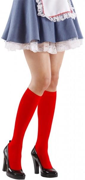 Rote Damen Kniestrümpfe