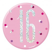 Pink Dots 16th Birthday Button 7cm