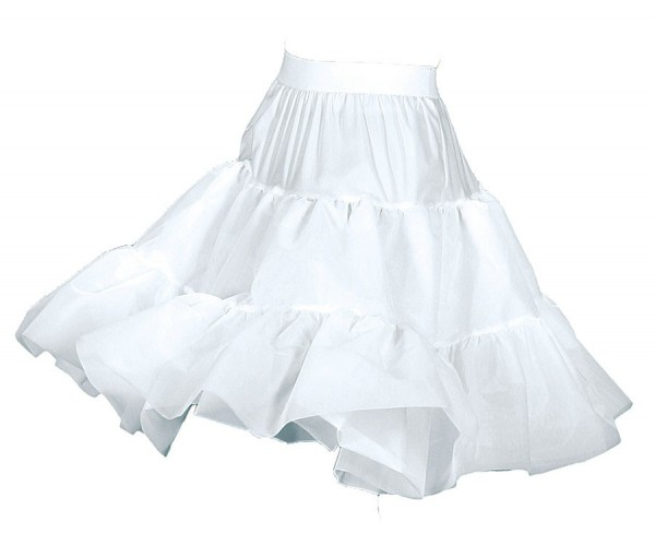 Knielanger Petticoat In Weiß 2-Lagig