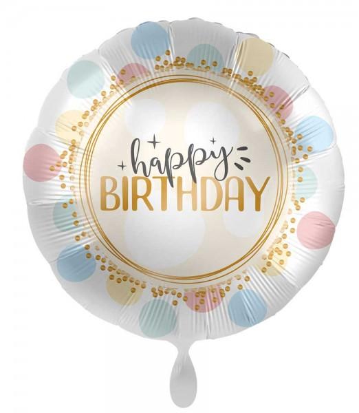 Balon foliowy urodzinowy w miękkie kropki 45cm